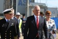 Australian Prime Minister Malcolm Turnbull with Defence Minister Marise Payne and Chief of Navy, Vice Admiral Tim Barrett. Photo: AFP