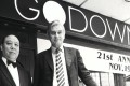 Godown's owner Bill Nash (right) and its long-serving doorman outside the Hong Kong bar and restaurant. Picture: SCMP