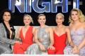 From left: Ilana Glazer, Kate McKinnon, Scarlett Johansson, Zoe Kravitz and Jillian Bell attend the Rough Night premiere in New York City. Photo: AFP