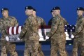 US soldiers carry the remains of a soldier killed in Peka Valley, Afghanistan. Photo: AP