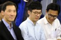 Hong Kong lawmakers (from left) Edward Yiu Chung-yim, Nathan Law Kwun-chung and Eddie Chu Hoi-dick at a political forum hosted by Taiwan's New Power Party, in Taipei on January 7. Photo: AFP