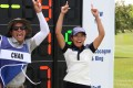 Tiffany Chan and her caddy celebrate. Photos: Symetra Tour