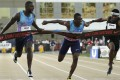Justin Gatlin (left) reacts as he defeats Christian Coleman (centre) in the men's 100 metre final at the US Track and Field Championships. Photos: AP