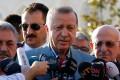 Turkey's President Recep Tayyip Erdogan talks to reporters after the Eid al-Fitr prayers in Istanbul, Turkey. Photo: Reuters