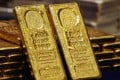 One-kg 24K gold bars are displayed at the Chinese Gold and Silver Exchange Society, Hong Kong's major gold and silver exchange. Photo: Reuters