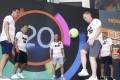"""The Class of '92 – Gary Neville, Phil Neville, Nicky Butt, Paul Scholes and Ryan Giggs – take part in a game of keepy-uppies at a promotional event at Olympian City 2 for Now TV and the new """"Ballr"""" interactive football app. Photo: Now TV"""