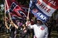 The Ku Klux Klan protests in Charlottesville, Virginia. Photo: AFP