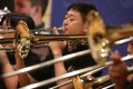 Members of the Hong Kong Blind Orchestra play their hearts out at their launch. Photo: Sam Tsang