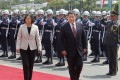 Paraguay's President Horacio Cartes (right) reviews an honour guard with Taiwan's President Tsai Ing-wen in Taipei on Wednesday. Photo: Associated Press