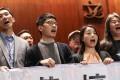 (Front, L-R) Disqualified lawmakers Edward Yiu Chung-yim, Nathan Law Kwun-chung, Lau Siu-lai and Leung Kwok-hung. Photo: Nora Tam