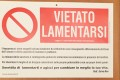 """This photograph released by The Vatican Insider - La Stampa newspaper, shows the banner reading """" Forbidden to Complain """" on the door of the private apartment of Pope Francis at The Vatican on July 12, 2017. Photo: AFP"""