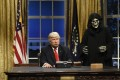 Alec Baldwin plays President Trump alongside 'Steve Bannon' on Saturday Night Live, one of the American shows scrubbed from Weibo. Photo: Will Heath - NBC.