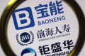 A netizen browses online images of the logos of Baoneng Group and its subsidiaries Foresea Life Insurance and Jushenghua in Ji'nan city, east China's Shandong province. Photo: Imaginechina