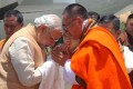 Indian Prime Minister Narendra Modi is met by Bhutanese Prime Minister Tshering Tobgay at Paro Airport in 2014, when he went to Bhutan on his first foreign trip since becoming prime minister. Photo: AFP