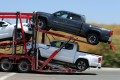 New Toyota pickup trucks under transport to distribution hubs in the United States after clearing US customs in California. Photo: Reuters