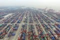 An aerial view of the Yangshan deepwater port outside Shanghai, the largest container harbour in China. Photo: Xinhua