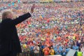 US President Donald Trump waves after speaking to Boy Scouts during the National Boy Scout Jamboree at Summit Bechtel National Scout Reserve in Glen Jean, West Virginia, on Monday. Photo: AFP