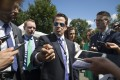 Anthony Scaramucci, the new US communications director, speaks to reporters about firing White House aides to stop leaks to the press, outside the West Wing on July 25. Photo: EPA