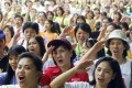 Hundreds of Filipino domestic workers pictured in Hong Kong. They are also widely employed in Singapore and Canada. Photo: Reuters