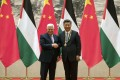 Xi Jinping first outlined his strategy when he welcomed the Palestinian leader Mahmoud Abbas to Beijing last month. Photo: AP