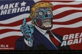 A billboard artwork by US artist Mitch O'Connell shows an allegory of US President Donald Trump with the slogan 'Make America Great Again,' installed in Mexico City. Photo: EPA