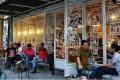 Karim Raslan and Angga Sasongko relax and drink coffee at the Filosofi Kopi shop in Melawai, Jakarta. Photo; Karim Raslan