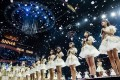 Young idol hopefuls take part in the SNH48 concert and elections at Shanghai's Mercedes-Benz Arena on July 28. Photo: SNH48 Group