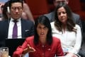 US Ambassador to the United Nations Nikki Haley speaks during a Security Council meeting on North Korea at the UN headquarters in New York. The US presented tougher sanctions against the North and a vote is due Saturday. Photo: AFP