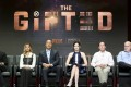 Cast members of The Gifted (from left) Stephen Moyer, Jamie Chung, Coby Bell, Emma Dumont, show runner Matt Nix and Marvel Television head Jeph Loeb participate in a panel discussion with television critics in Beverly Hills. Photo: AP