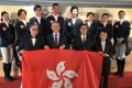 (Front row, from L to R) Timothy Fok Tsin-ting, Anthony Chow, deputy chairman of Jockey Club, Michael Lee, Hong Kong Equestrian Federation president and Angela Kong, deputy chef d'equipe send Hong Kong's equestrianism team off to the National Games in Tianjin. Photos: Handout