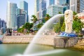 The iconic Merlion fountain on Singapore's waterfront.