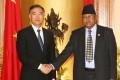 Chinese Vice-Premier Wang Yang, left, shakes hands with Nepali Deputy Prime Minister Bijay Kumar Gachhadar in Kathmandu on Tuesday. Photo: Xinhua
