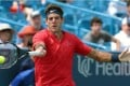 Juan Martin Del Potro of Argentina in action against Tomas Berdych of the Czech Republic. Photo: EPA