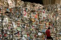 Waste paper in Kwun Tong in Hong Kong, awaiting shipment to mainland China for recycling as of October 2008. Photo: SCMP