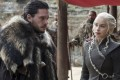 Kit Harington (left) and Emilia Clarke in a still from the seventh season finale of Game of Thrones released by HBO. Photo: AP