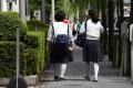 Japanese schoolgirls in Tokyo. Photo: AFP