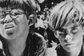 A still from Peter Brook's 1963 film version of Lord of the Flies – filmed with boys, as in William Golding's book.
