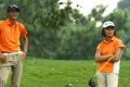 Taichi Kho and Chloe Chan contemplate their next shot during the second round of the Asia-Pacific Golf Confederation Junior Championship at Fanling. Photos: HKGA