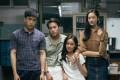 Bad Genius cast members (from left) Chanon Santinatornkul, Teeradon Supapunpinyo, Eisaya Hosuwan and Chutimon Chuengcharoensukying.