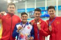 Kenneth To King-him with Sun Yang (left) and the other Zhejiang swimmers, Wang Shun and Xu Jiayu. Photo: Facebook / Kenneth To