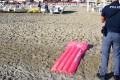 Police inspect the beach in Rimini where a tourist was said to have been gang raped. Photo: AP