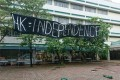 A 'HK Independence' banner is seen at the Chinese University of Hong Kong in Sha Tin. Photo: Handout