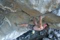 Czech climber Adam Ondra upside down in the Hanshelleren cave, Flatanger, Norway, ahead of Monday's successful climb. Photo: Montura