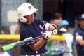 Vivien Cheung Wai-yee sends the Japanese fielders running. Photos: HKBA