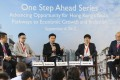 From left to right: principal liaison officer for Hong Kong, Shenzhen Qianhai Authority, Witman Hung; co-founder and chief executive officer at Ampd Energy, Brandon Ng; director, Entrepreneurship Centre, Hong Kong University of Science and Technology, Gary Chan; founder and chairman at EGI Technologies, Edward Cheng; and associate director-general of investment promotion at InvestHK, Charles Ng, speak at the forum on innovation and entrepreneurship. Photo: Dickson Lee