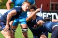 Scrum half Mark Coebergh gets the ball moving for Hong Kong. Photo: World Rugby