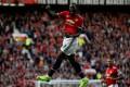 Manchester United's Romelu Lukaku celebrates scoring their third goal against hui sold club Everton. Photo: Reuters