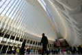 The median Manhattan rent was US$3,377 in August, up 0.5 per cent from August 2016. People walk through the new World Trade Center transportation hub in New York. Photo: Xinhua