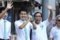Sulu Sou Ka-hou (second left) celebrates on Monday after winning a seat in the Macau Legislative Assembly election. Photo: Dickson Lee