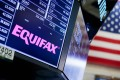 A view of signage for the company Equifax on the floor of the New York Stock Exchange on Monday. Photo: EPA